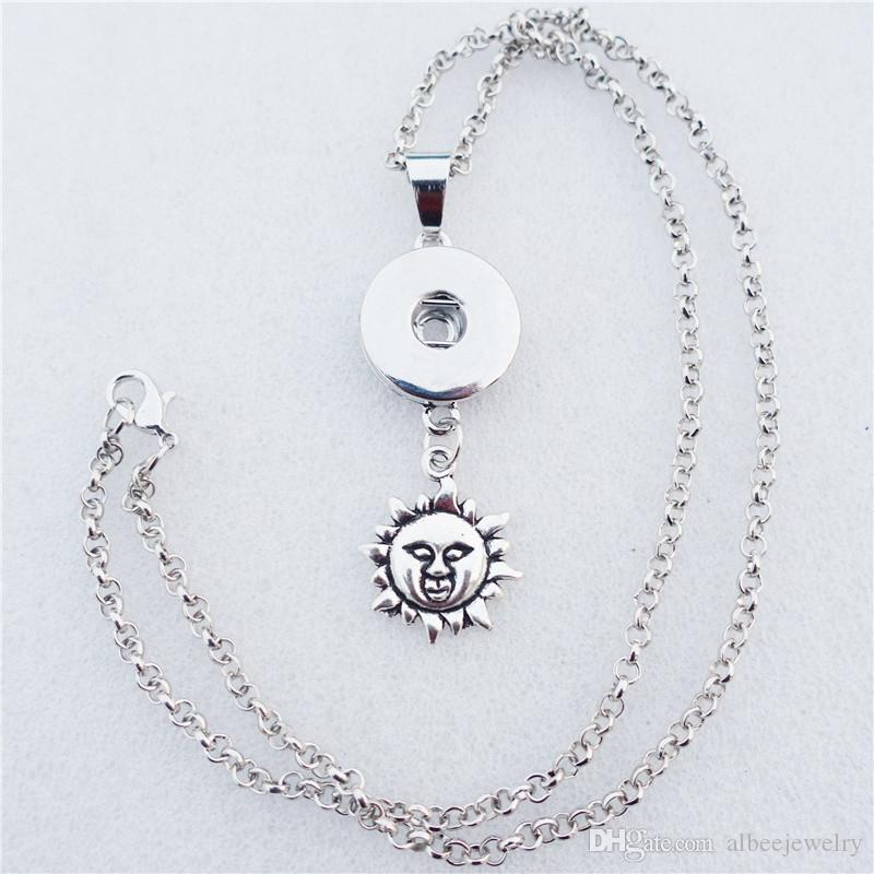 Fashion Noosa Chunks Metal Ginger 18mm Snap Buttons Sun Flower Pendant Necklace With 50cm Link Chain