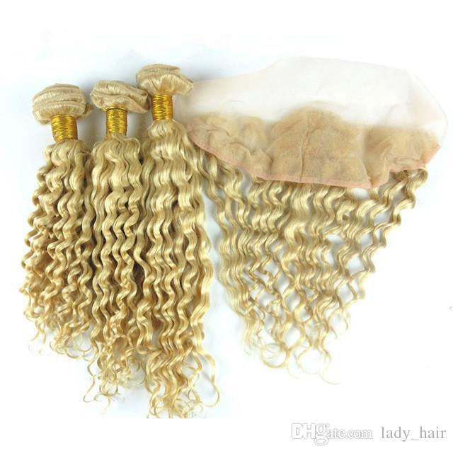 깊은 웨이브 # 613 페루 인간의 머리카락 묶음과 정면 표백제 금발 귀에 귀에 전체 레이스 정면 13x4 인간의 머리 Wefts 확장명