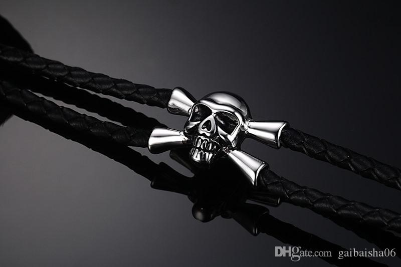 Punk Männer Schädel Armband Schwarz Echtes Leder Armbänder Armreifen Schmuck