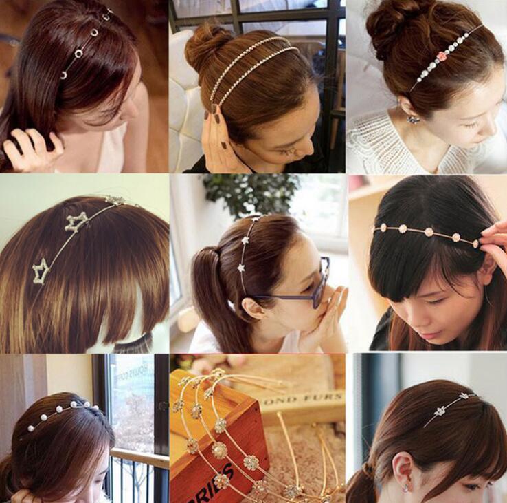 18 estilos dulce perla flor Hairbands Rhinestone cristalino del corazón del arco nudo del pelo del aro del tocado diademas mujeres niñas pelo joyería