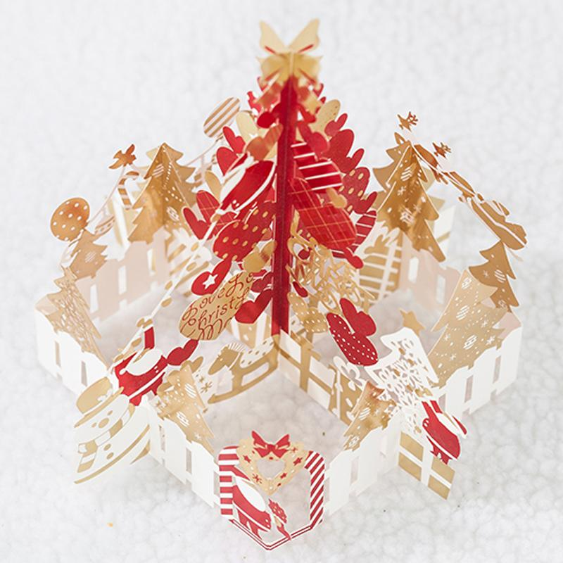 High Quality Greeting Card 3D Pop Up Cards Christmas Tree With Red ...