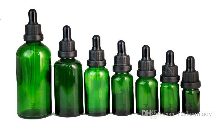 Botellas de pipeta de reactivo líquido de vidrio verde Eye Droppers Aromatherapy 5 ml-100 ml Botellas de perfumes de aceites esenciales al por mayor de DHL libre