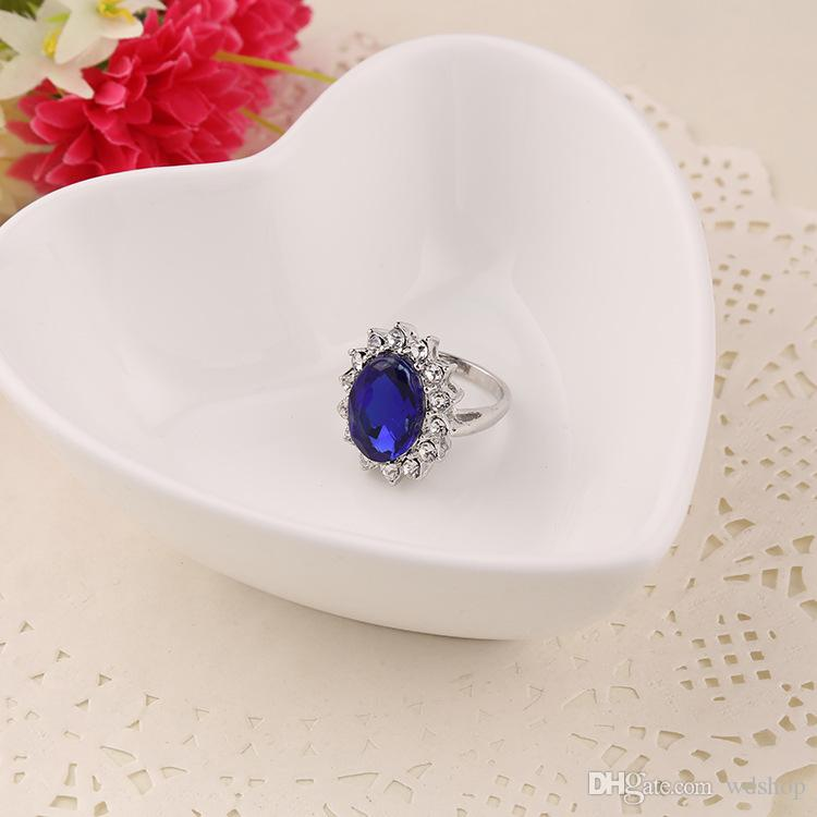 Wholesale-Luxury British Kate Princess Diana William Engagement Wedding Blue Sapphire Ring For Wedding Engagement Jewelry