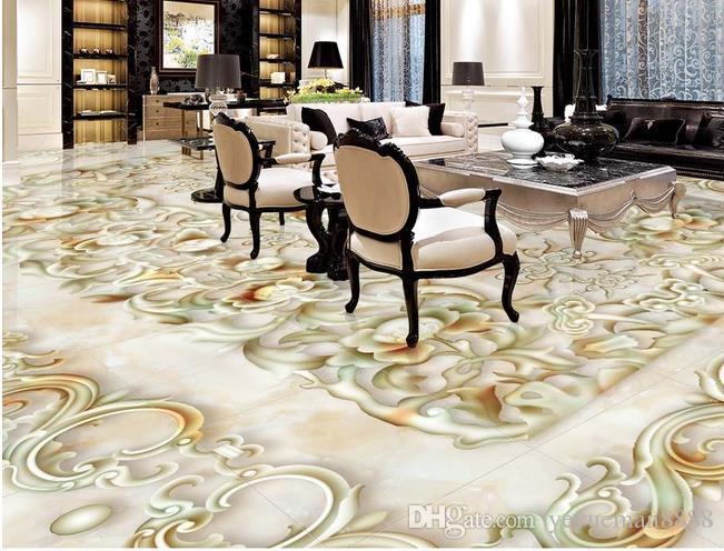 tile flooring bathroom Custom wallpaper scenery for walls Park stone Creek carp 3d floor wallpapers for bed room 3d floor painting