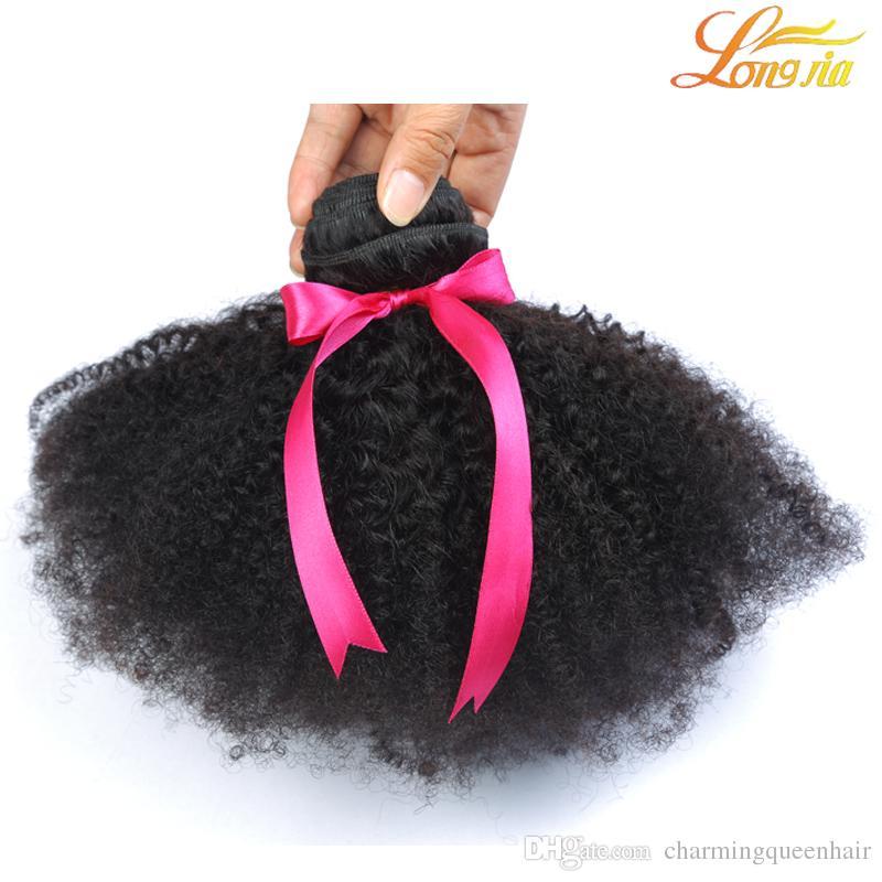 Afro rizado rizado pelo afro rizo pelo brasileño peruano Kinky rizado rizado armadura del pelo virginal paquetes de extensión peruano rizo afro