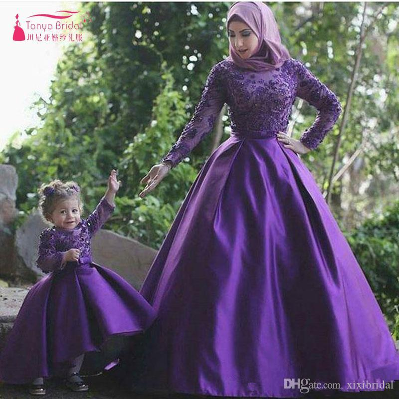 2017 Elegant Purple Long sleeve African Prom Dresses Appliques A line Lace and satin Mother and Daughter Dresses Muslim Evening Gowns