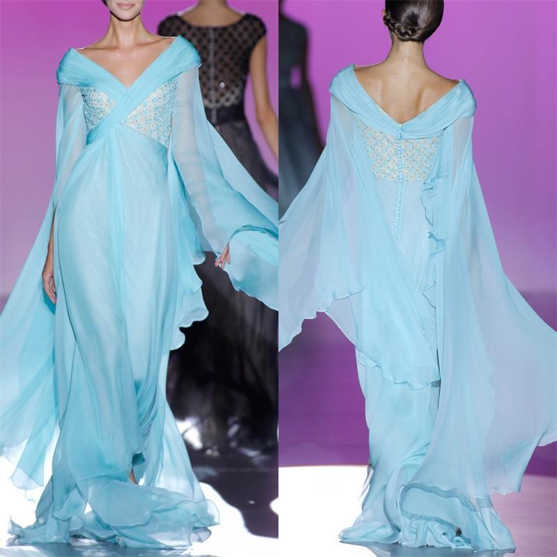 Light Sky Blue Chiffon Long Evening Dresses Long Sleeve V Neck Pleated Lace  Applique Beaded High Quality 2017 Haute Couture Custom Gowns Elegant Formal  ... 7ad781254f88