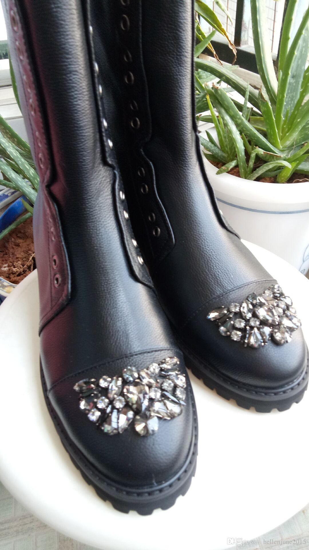 European classic luxury style, ladies boots, boots, Martin boots, Paris catwalk, pure color leather, soft leather, cortical Rhinestone trim,
