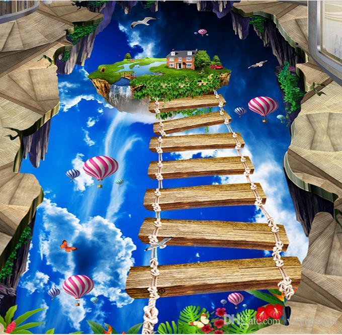 Wasserdichte PVC-Bodenbelag des Umweltschutzes imprägniern selbstklebende Tapete fertigen blauen Himmel und weiße Wolken besonders an, die Bodenbelag baden