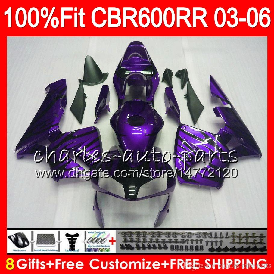 8Gifts Injection For HONDA CBR 600RR F5 CBR 600 RR 05 06 43NO120 CBR600RR 03 04 CBR600F5 Purple flames CBR600 RR 2003 2004 Fairing