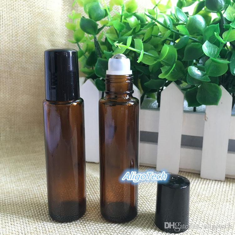 AMBER Glass Roll On Bottle 15ml 1/2oz Essential Oil Empty Aromatherapy Perfume Bottle 15ml with Metal Roller Ball Free DHL