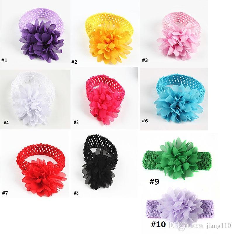 baby Headwear Head Flower Hair Accessories 4 inch Chiffon flower with soft Elastic crochet headbands stretchy hair band