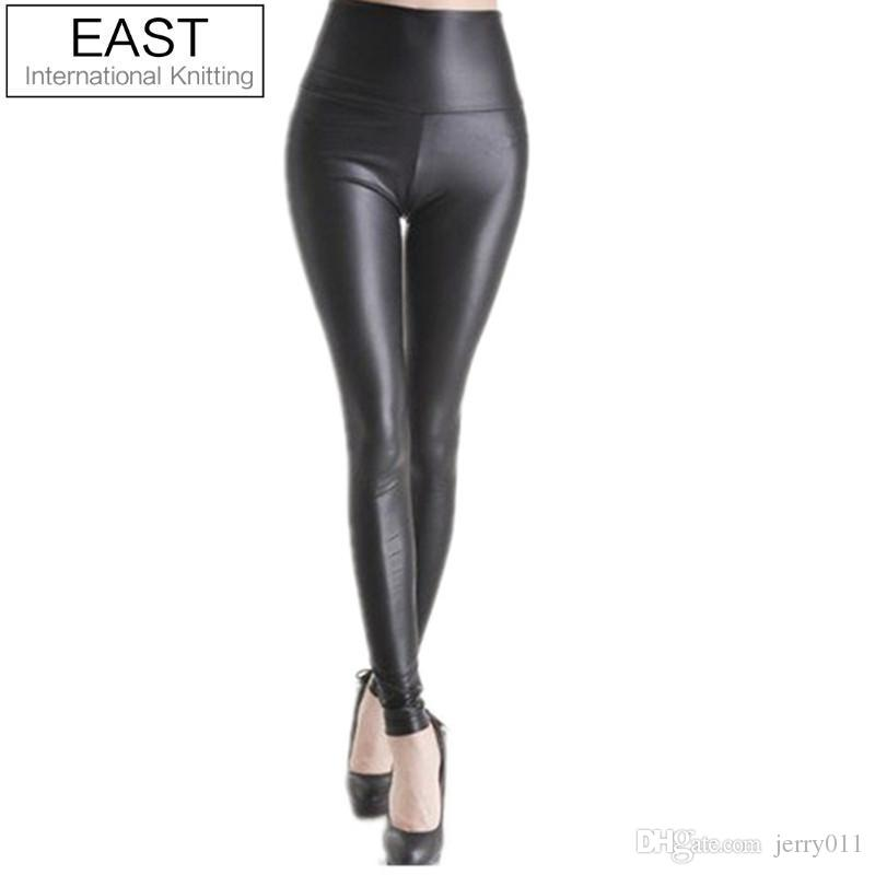 120832e481d852 2019 East Knitting Black Women Leggings Faux Leather High Quality Slim  Leggings Plus Size High Elasticity Sexy Pants Leggins From Jerry011, $2.52  | DHgate.