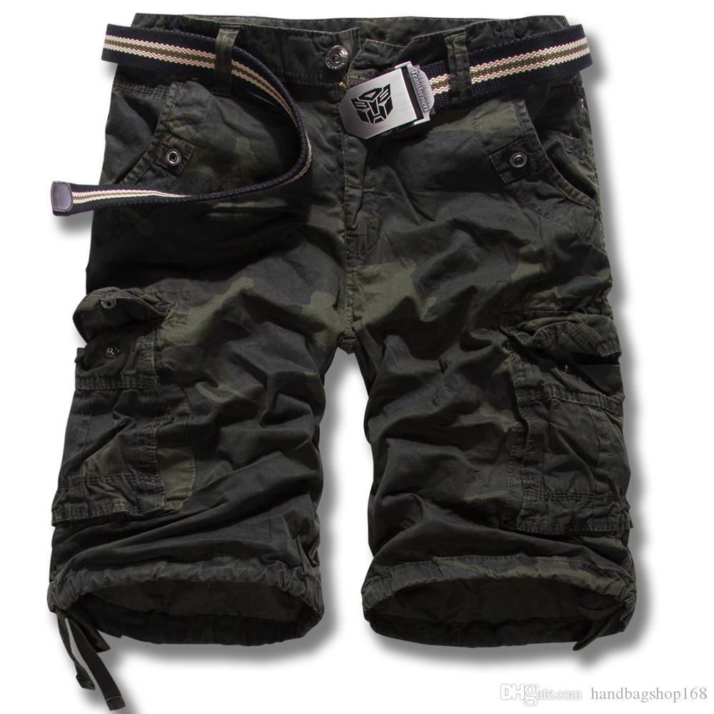 livraison gratuite Nouveau pantalon salopette, mode Europe et les États-Unis camouflage de grands chantiers de pantalons courts pantalons coton K55 pas de ceinture