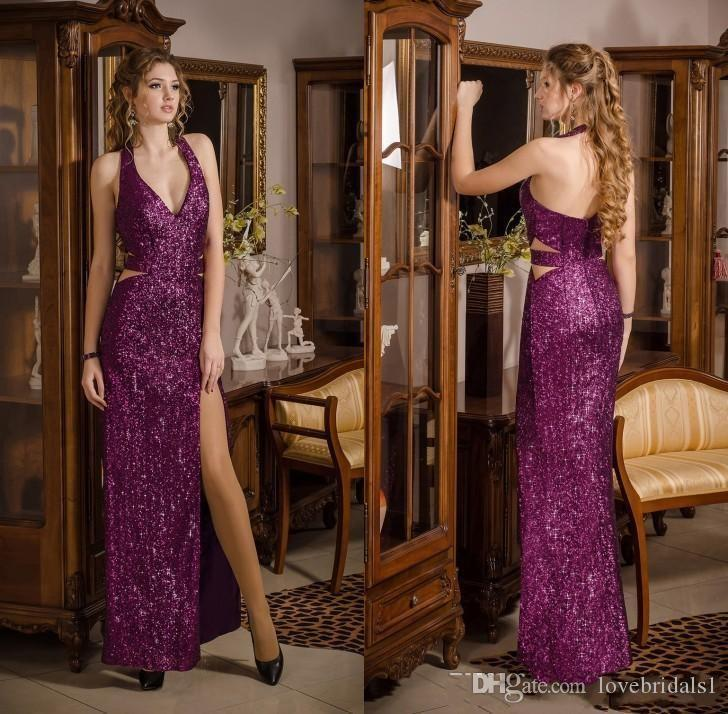 2017 Sparkling Purple Sequin Prom Dresses Sexy Halter Backless Side