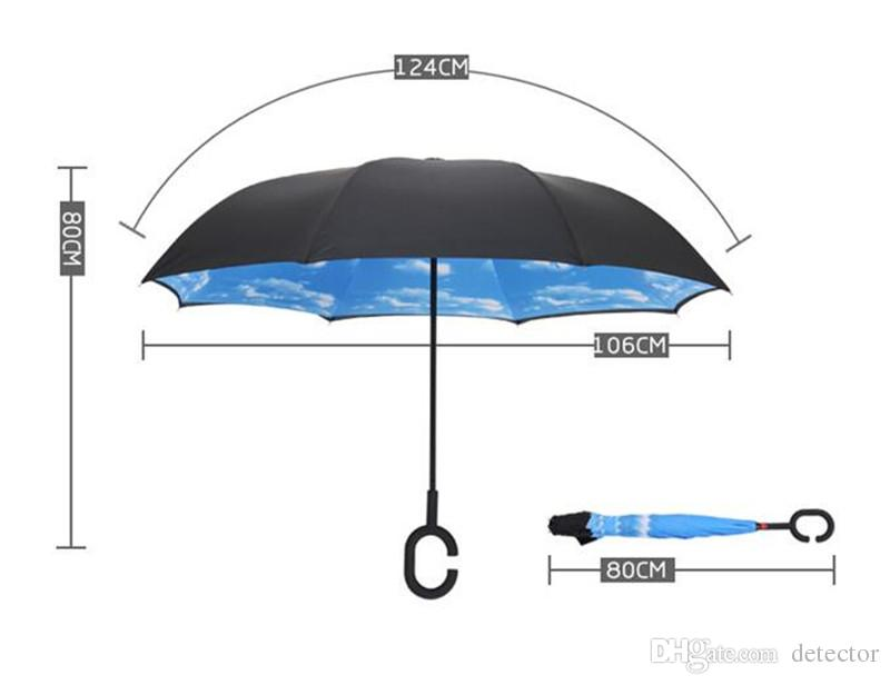 HOT Windproof Reverse Folding Double Layer Inverted Chuva Umbrella Self Stand Inside Out Sunshade Rain Protection C-Hook Hands For Car