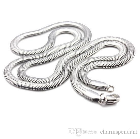 Nice Gifts for Friends Stainless Steel Fashion flat snake Chain women men's Necklace Silver Tone 5mm 21.6'' on sale