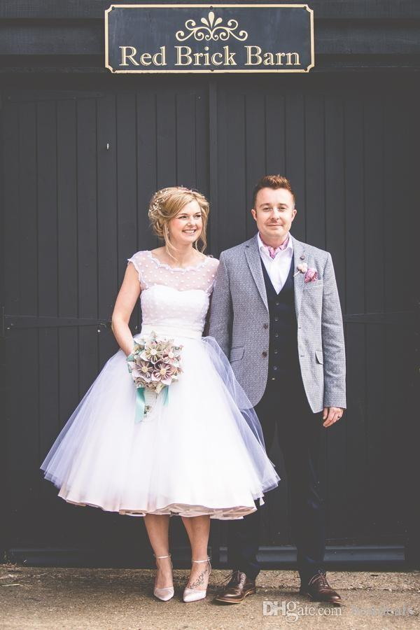 Vintage 50er Jahre Stil gepunktet kurze Brautkleider Tee Länge kleine weiße Kleider 2016 Vestidos de Novia Beach Brautkleider