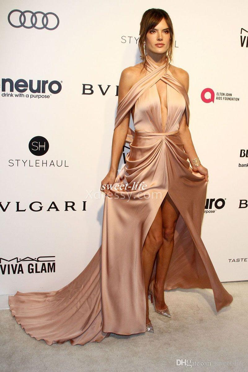 Sexy Alessandra Ambrosio Backless Prom Gowns Side Split Sleeveless 2020 Mermaid Cheap Celebrity Party Wear Evening Dress Long Maxi Dress