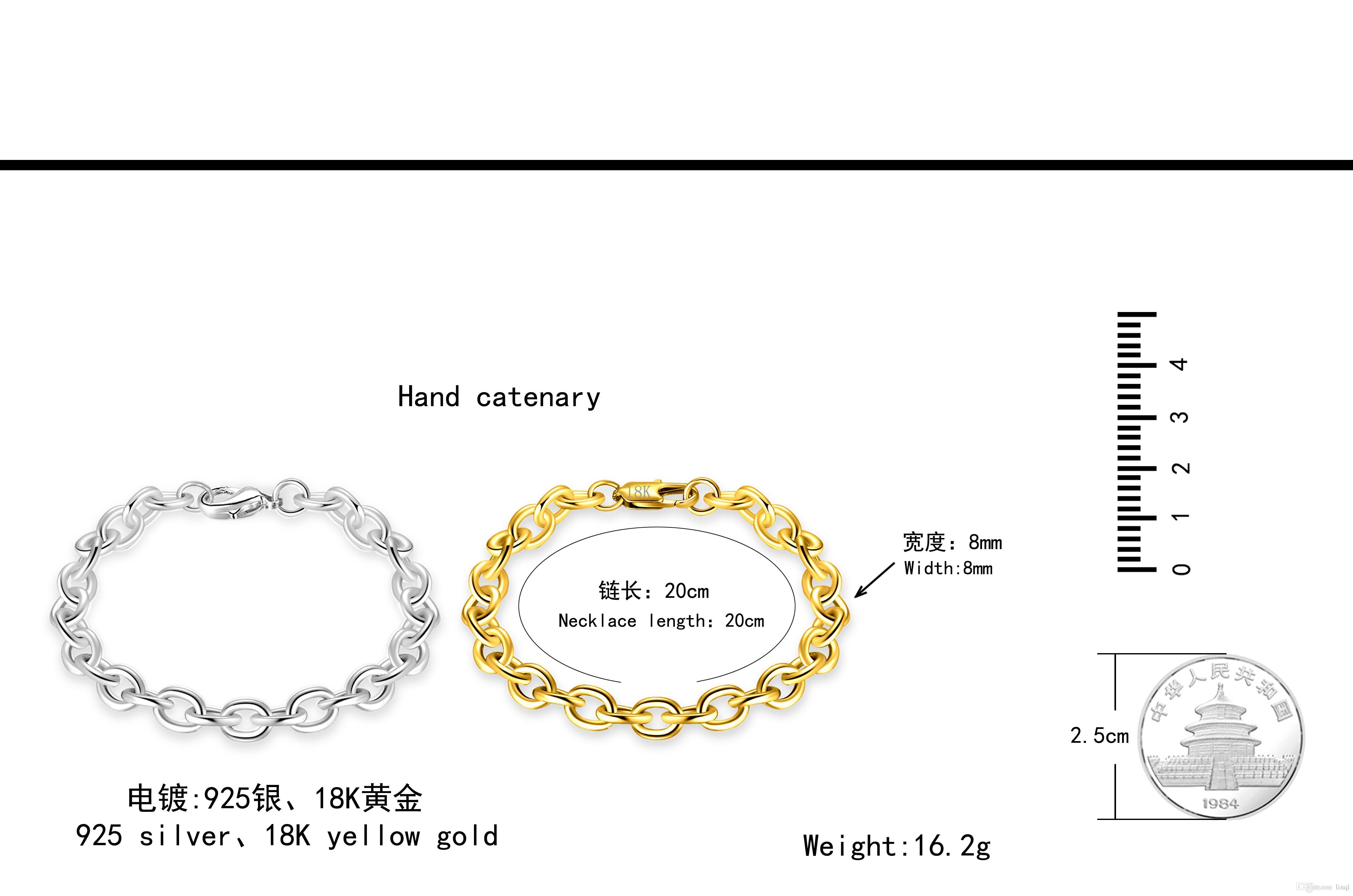 best Quality Charm 925 sterling silver Plated cute women men fashion Noble chain Bracelet jewelry CAN fit pendant jewelry