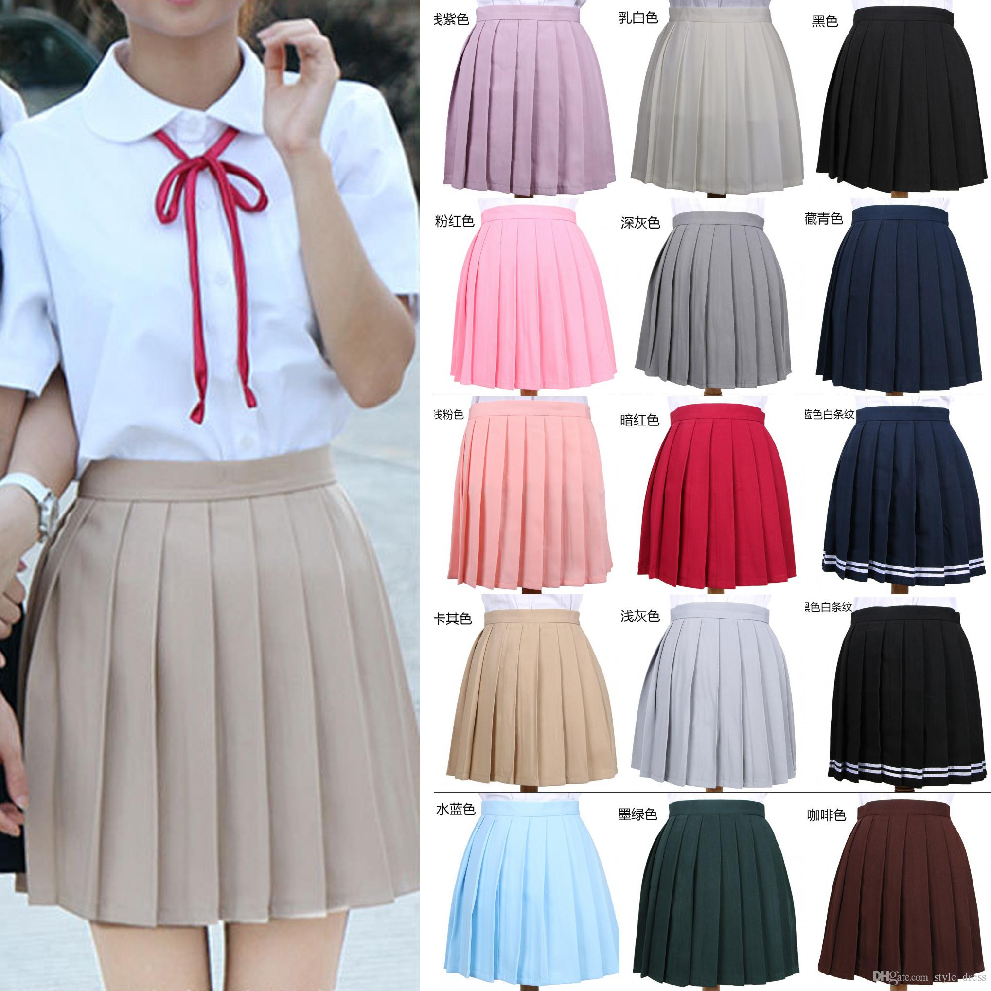 88c4f7ef96 2019 Girls High Waist Pleated Skirt Anime Cosplay School Uniform JK Student  Girls Solid A Line Mini Skirt From Style_dress, $13.07 | DHgate.Com