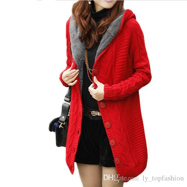 85815ed51a4 2017 New Winter Hooded Cardigan Cashmere Sweater Women Coat Thick Warm  Sueter Mujer Long Sleeve Knitted Cardigans Female Poncho Cashmere Sweater Plus  Size ...