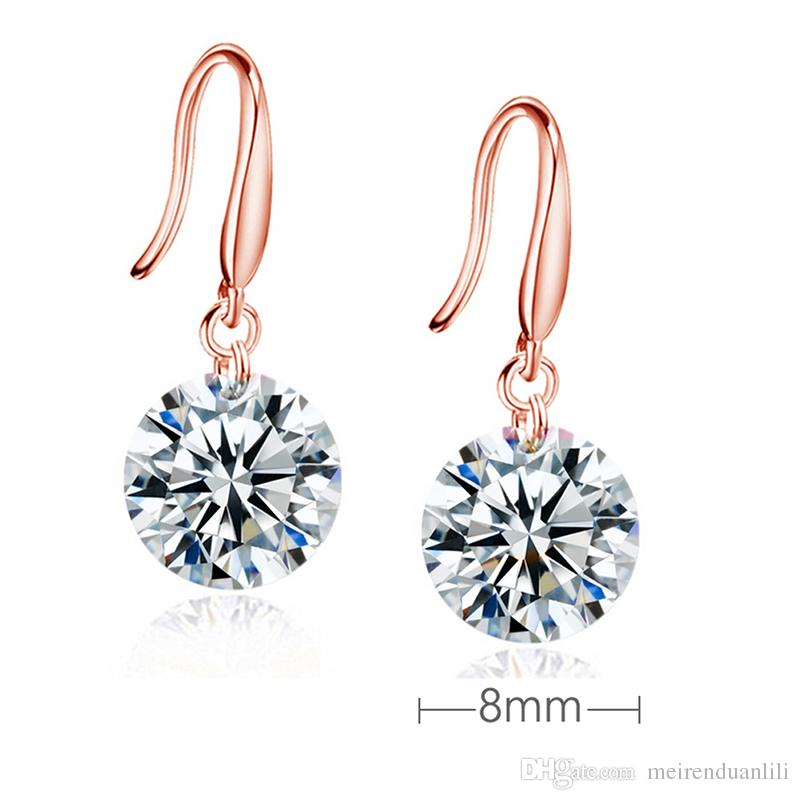 Hot Copper CZ Diamond Drop Earrings Fashion Jewelry Zircon Wedding Engagement Gift Gold/Rose Gold /Silver Color 8mm/9mm/10mm