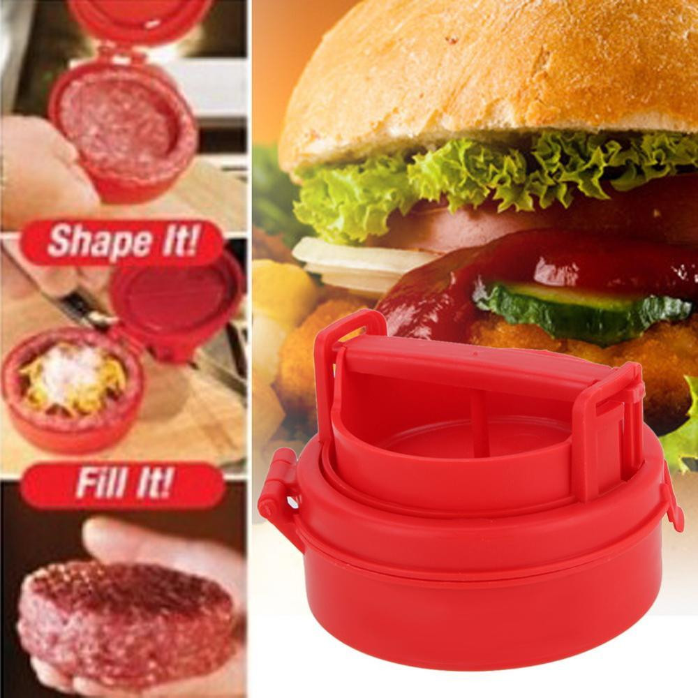 Stuffed Burger Press Grill BBQ Patty Maker Plastic Silicone Hamburger Press Red Cooking Tools