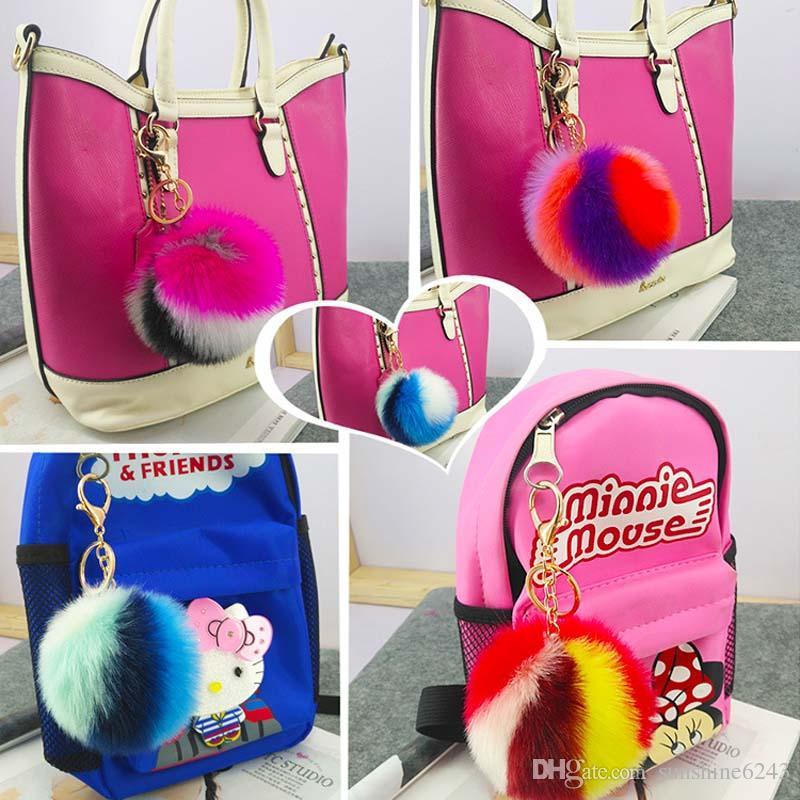 / 9CM Wholesale Colorful Artificial Rabbit Fur Ball Plush Key Chains Car Keychain Bag Pendant Fashion Accessories
