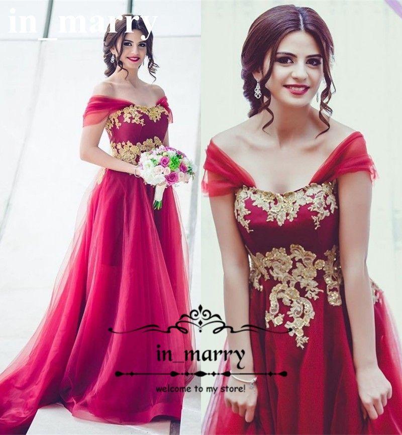 Compre Sexy Rojo Árabe Largo Vestido De Baile De Encaje De Oro ...