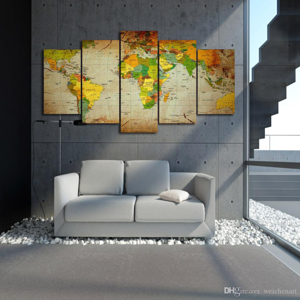 5 Panel-HD Printed Weltkarte Gruppe Gemälde-Wand-Kunst-Raum-Dekor Poster Bild Leinwand-Wand-Kunst-Malerei-Druck