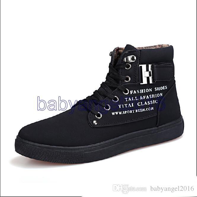 2017 sıcak satış Yeni Zapatos de Hombre Erkek Moda İlkbahar Sonbahar Deri Ayakkabı Sokak erkek Rahat Moda Yüksek Üst Ayakkabı Tuval Sneakers
