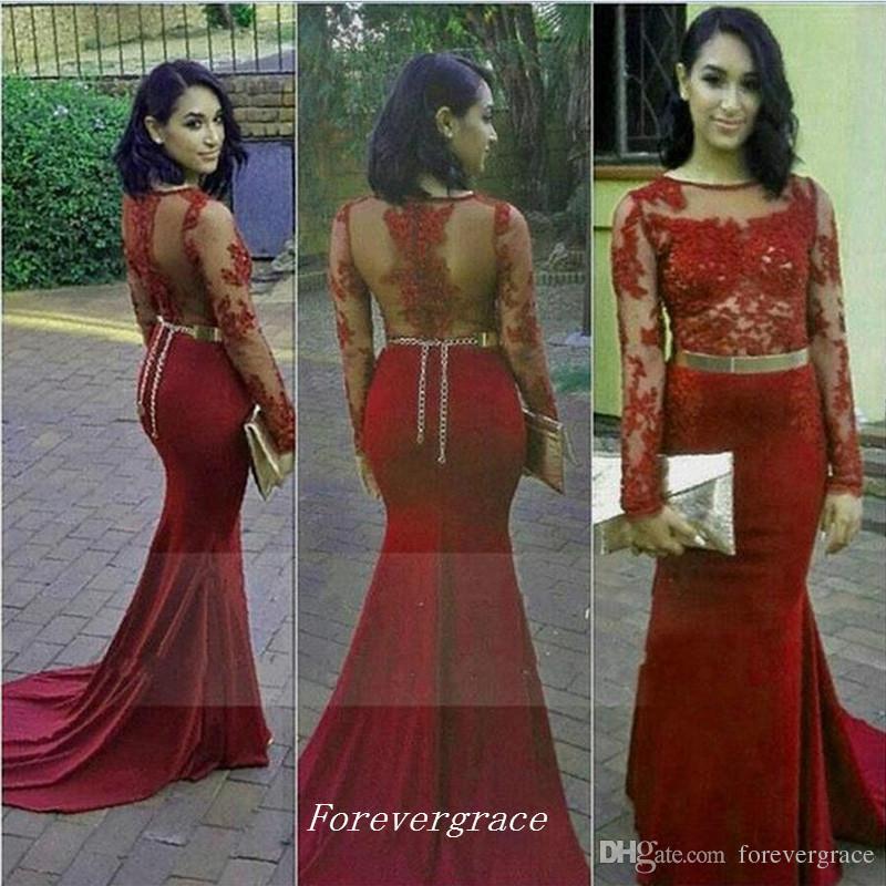 2017 Long African Style Prom Dress Elegant Maroon Burgundy