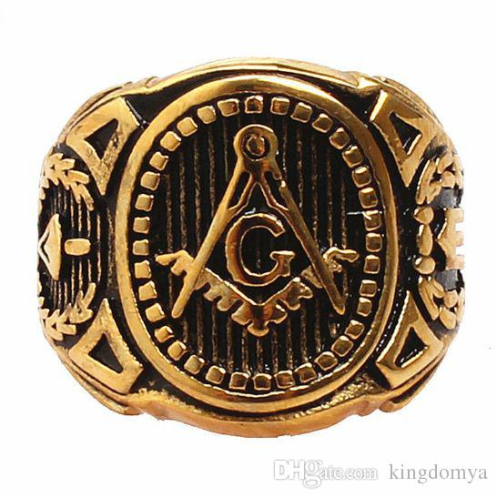New Jewelry Masonic Logo Golden Man Ring Belief And Faith Loyalty Ring Size 7-13 Suitable For Man