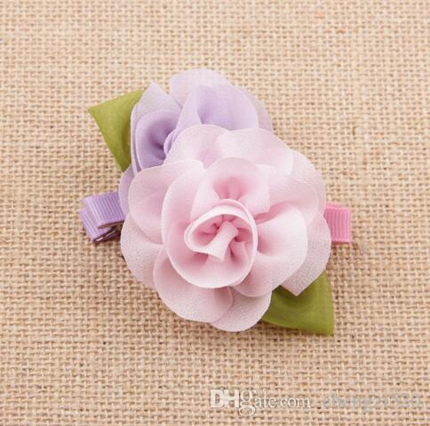 Hair Accessories Children Accessories Satin Rose Flower Hair Clips For Baby Girls Baby Products YH485