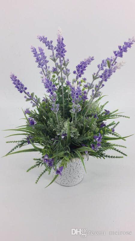 Artificial Lavender Plants With Galvanized Pots Table Flower Whitewashed Potted plant for Wedding Holiday Special days Home Decor 125 -1016