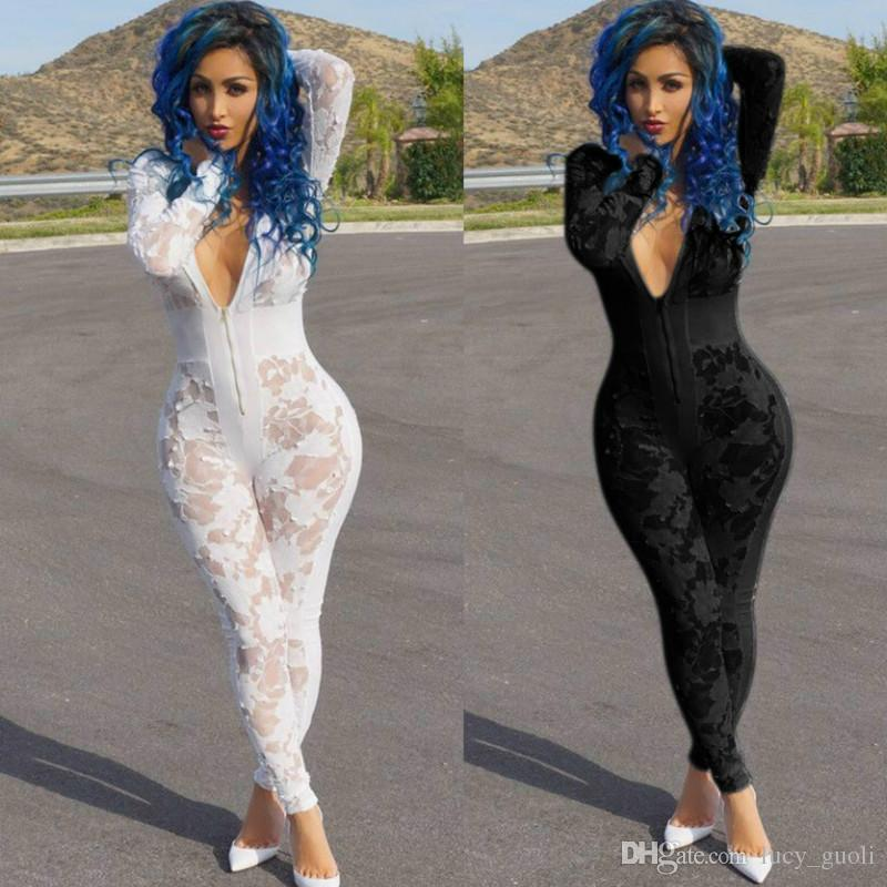 30b987820f 2019 New Design Deep V Neck Sexy Burn Hollow Out Mesh Stitching One Piece Jumpsuit  Club Sexy Women Rompers Women Lace Perspective Jumpsuit Romper From ...