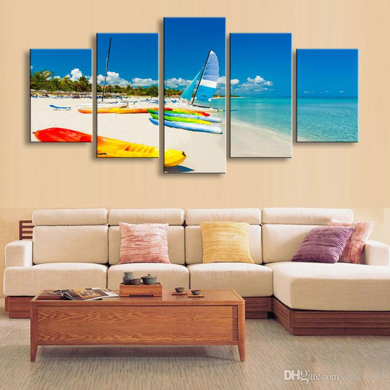 high-definition print beach sea boat canvas painting poster and wall art living room picture PL5-182
