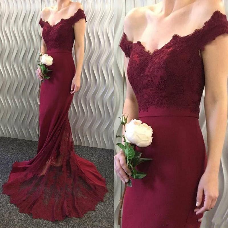Moda azul marino borgoña sirena vestidos de dama de honor baratos fuera del hombro apliques de encaje vestido de dama de honor por encargo