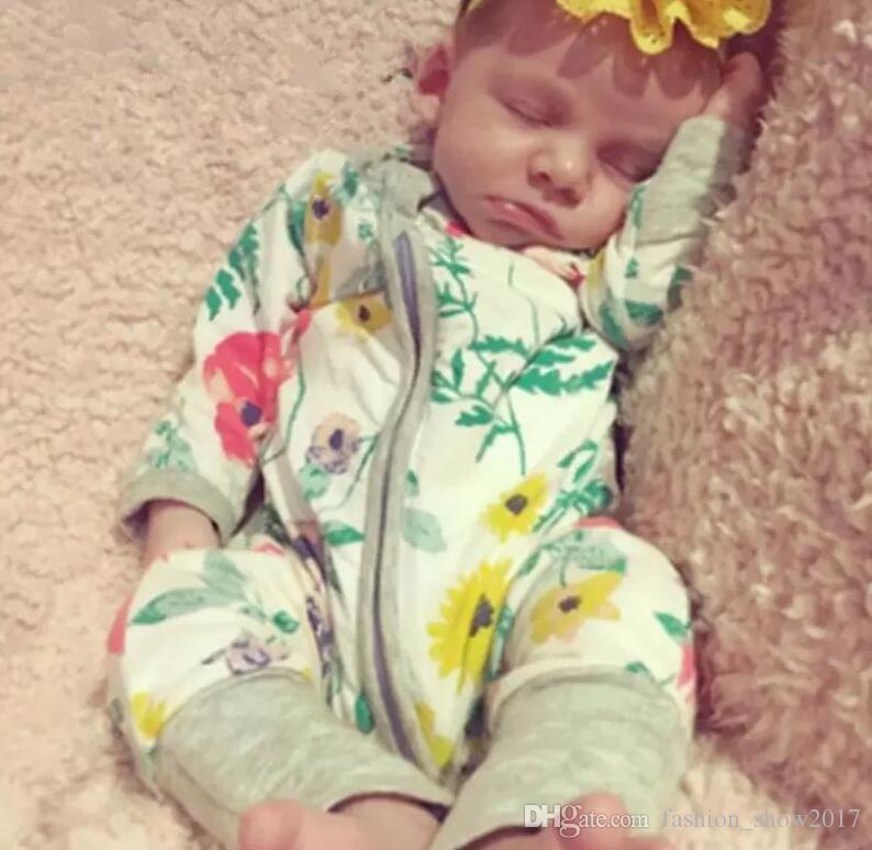 Crianças Roupas de bebê Recém-nascido macacão de flores Macacões Algodão Infantil de Manga Longa Macacão Meninos Meninas Roupas de Outono