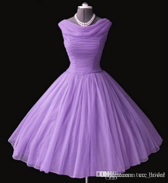 1950's 50s vintage vestidos de dama de honra vestido de baile Bateau decote chá de comprimento vestidos de baile Vestidos de festa curtos Homecoming / vestidos de formatura Novo