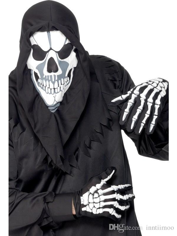 Unisex mulheres e homens Wrist Length Scary luvas Halloween Skeleton Bone imprimir luvas curtas Fancy Dress Black Green Gloves