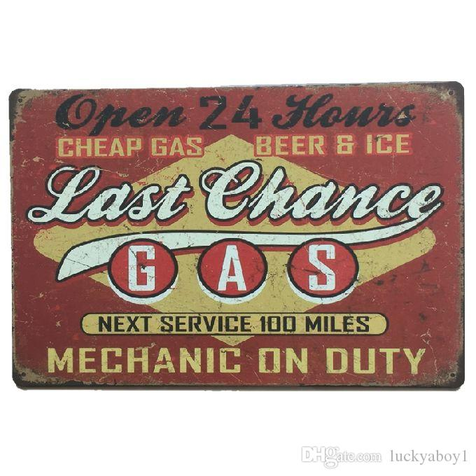 Las Chance Gas Mechanic on Duty Retro rustico segno di latta di metallo Decorazione della parete Vintage Tin Poster Cafe Shop Bar home decor