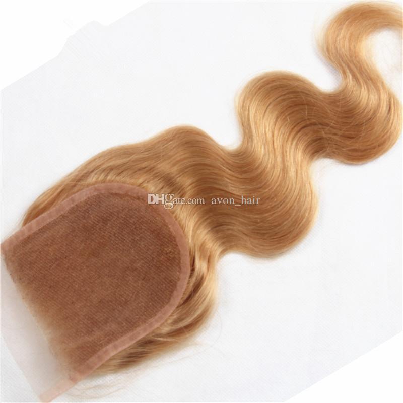 레이스 클로저와 함께 딸기 금발 # 27 인간의 머리카락 번들 4x4 상단 폐쇄 / Lot와 브라질 바디 웨이브 헤어 익스텐션