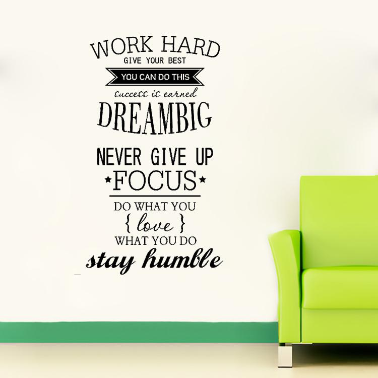 4055 Work Hard Motivation Wall Decals Never Give Up Dream Big