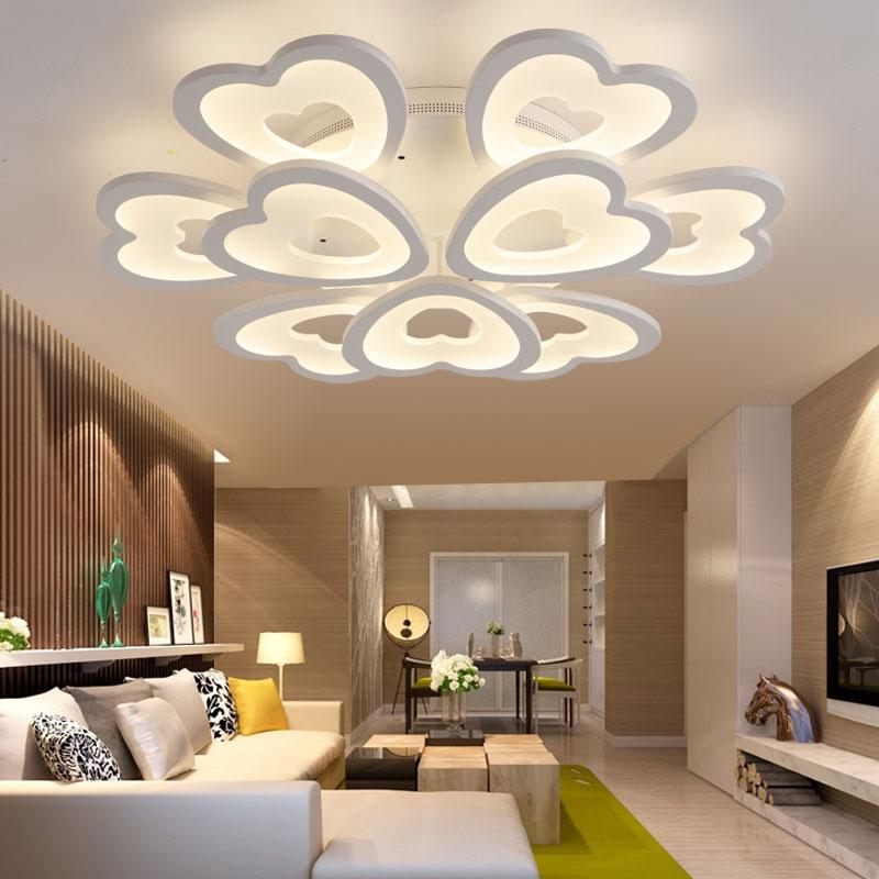 Modern LED Ceiling Lights For Living Room Bedroom Ceiling Lamp Acrylic  Heart Shape LED Ceiling Lighting Home Decor Modern Ceiling Lamps Pendant  Light ...