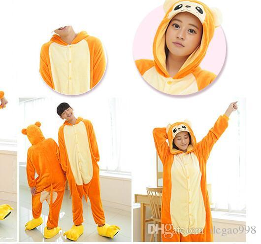 """wholesale/retail flannel animal jumpsuit cartoon long-sleeved autumn winter """"nightgown"""" clothing length yellow/yellow/orange/purple S/M/L/"""