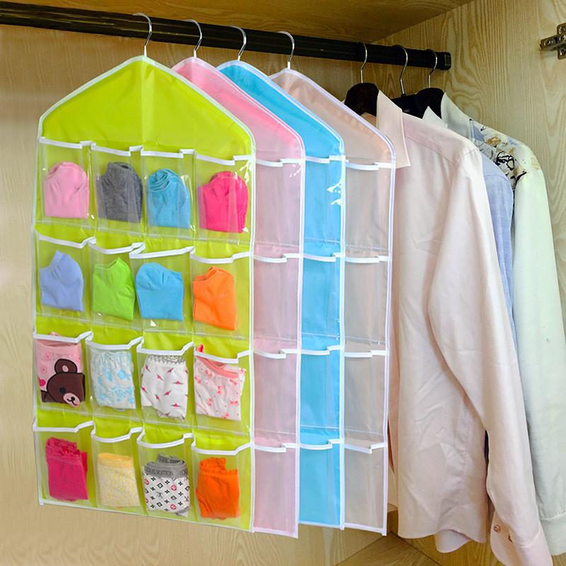 Wholesale- 16Pockets Clear Hanging Bag Socks Bra Underwear Rack Hanger Storage Organizer closet clothes organizing bags drop shipping