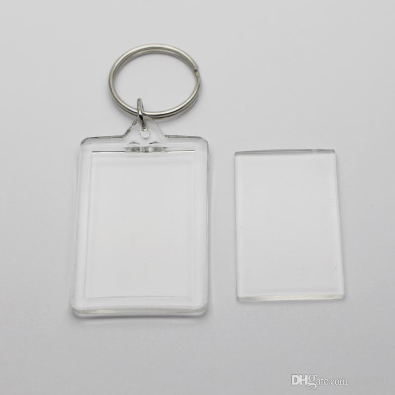 빈 아크릴 직사각형 열쇠 고리 삽입 1.72