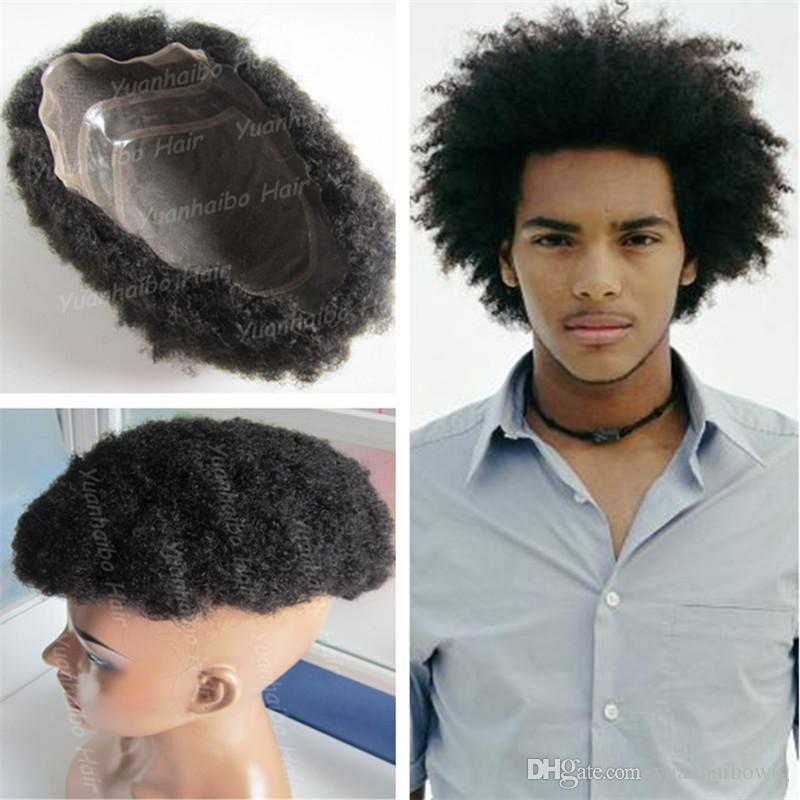 2018 hot sale toupees 6inch black human hair afro curl